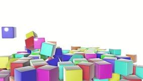 Multi-colored kubussendaling op een witte achtergrond geanimeerd 3d geef terug stock illustratie