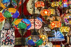 Multi-colored lamps hanging at the Grand Bazaar in Istanbul Stock Images