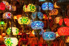 Multi-colored lamps hanging at the Grand Bazaar in Istanbul. Stock Photo