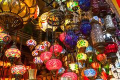 Multi-colored lamps hanging at the Grand Bazaar in Istanbul. Royalty Free Stock Photo