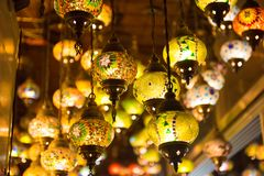 Multi colored lamps Grand Bazaar in Istanbul royalty free stock image