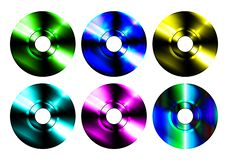Multi colored laser CD discs vector illustration