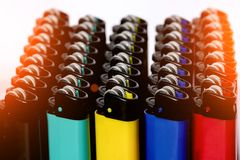 Multi-colored lighters. Multi colored lighters stock image