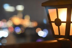 Multi-colored lights of the night city. Soft bokeh. Defocus royalty free stock photography