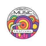 Multi-colored logo template for music festival. Abstract emblem in linear style with Gramophone record. Creative vector vector illustration