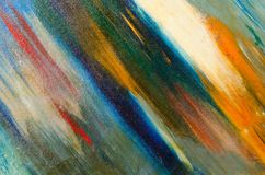 Multi-colored long diagonal watercolor strokes on canvas royalty free stock image