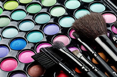 Multi Colored Make-up And Brushes Stock Images