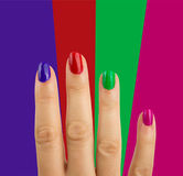 Multi colored manicure Royalty Free Stock Images