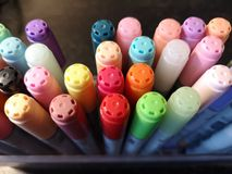 Multi-colored markers. Copic.Stand in the box top view royalty free stock images