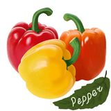 Multi-colored mature peppers on a white background. Stock Photography