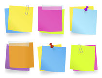 Multi-Colored Memos In A Row Royalty Free Stock Photo