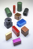 Multi-colored Metal Stamped Pieces Stock Photo