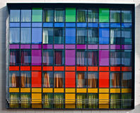 Multi-colored modern flatgebouw Stock Afbeelding