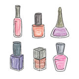 Multi-colored nail varnishes Royalty Free Stock Image