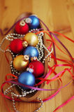Multi-colored New Year's toys on bright brilliant jewelry Royalty Free Stock Image