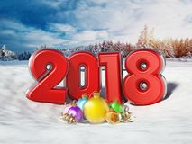 Multi-colored number 2018 and ornaments. 3D illustration. Multi-colored number 2018 and ornaments on snow. 3D illustration Stock Images
