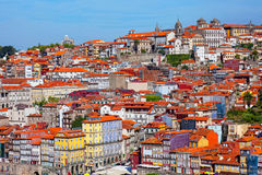 Multi-colored old houses around Ribeyr, Porto Stock Images