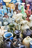 Multi colored, old vases an jars at the Panjiayuan market Beijing, china, Asia Stock Image