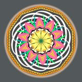 Multi-colored oriental vintage pattern with arabesques floral elements, mandala royalty free illustration