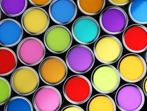 Multi colored paint cans background. 3D illustration.  Royalty Free Stock Photos