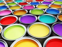 Multi colored paint cans background. 3D illustration.  Royalty Free Stock Photography