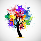 Multi colored paint splat abstract tree Royalty Free Stock Photography