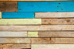 Multi-colored painted planks texture for background stock images