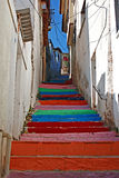 Multi colored painted steps Stock Photography