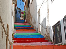 Multi colored painted steps Royalty Free Stock Image