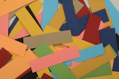 Multi Colored Paper Cards with copy space Royalty Free Stock Images
