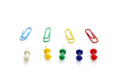 Multi colored paper clips isolated in white Stock Photos