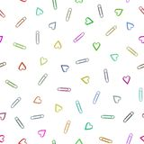 Multi-colored paper clips seamless pattern and abstract background for decorative. Vector illustration EPS 10 stock illustration