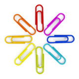 Multi colored paper clips Royalty Free Stock Photography