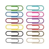 Multi-colored paper clips. Different materials. 3D illustration. Multi-colored paper clips on a white background. Different materials. 3D illustration Royalty Free Stock Photography