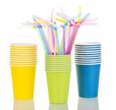 Multi-colored Paper Cups And Cocktail Straws Isolated On White