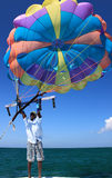 Multi-colored parachute Stock Photos