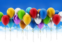 Multi colored party balloons Stock Image