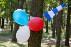 Multi colored party balloons with texas state flag Stock Photography