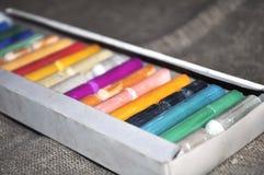 Multi-colored pastelkleur in de doos Royalty-vrije Stock Foto's