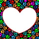 Multi-colored paw prints frame heart. Multi-colored paw prints pet frame heart with white space for your text Royalty Free Stock Photo