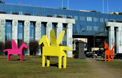 Multi-colored Pegasus sculptures in Warsaw Royalty Free Stock Photo