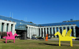 Multi-colored Pegasus sculptures in Warsaw Stock Photography