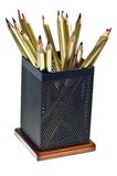 Multi-colored pencils in cup Royalty Free Stock Images