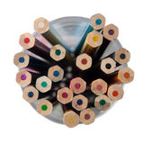 Multi colored pencils in glass jar Royalty Free Stock Image