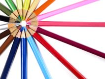 Multi-colored pencils. On white background Royalty Free Stock Image