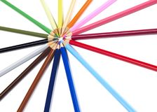 Pencils togheter. Multi-colored pencils on white background Stock Photography