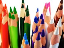 Multi colored pencils stock images
