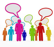 Multi-colored people with speech balloons Stock Images