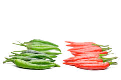 Multi-colored peppers on a white background Royalty Free Stock Image
