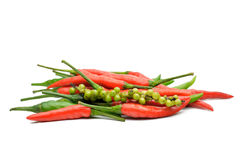 Multi-colored peppers on a white background Royalty Free Stock Photography